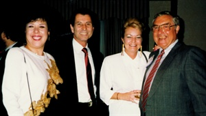 <p>1993. L-R: Helen, Carl and Carol Bianconi of Nail Art ala Carte, Ed Bobit (publisher of NAILS Magazine)</p>