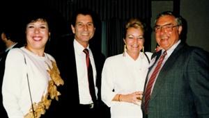 <p>1993. L-R: Helen, Carl and Carol Bianconi of Nail Art ala Carte, Ed Bobit (publisher of NAILS Magazine)</p>