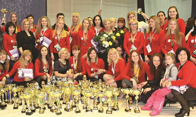 Russian nail techs have proven themselves strong competition contenders. Here is the OleHouse team at the 2015 Nevskie Berega nail championship.