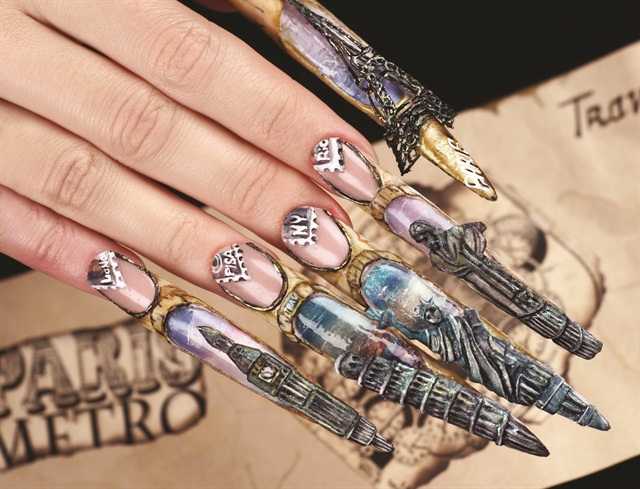 "OleHouse teacher Titov Roman won second place in the ""Create your portfolio""-themed contest at Nevskie Berega 2015 for this nail art photo."