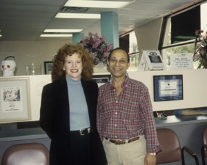 <p>Ira Bloom in one of his NAILS Now! salons in 1997 with NAILS editor Cyndy Drummey.</p>