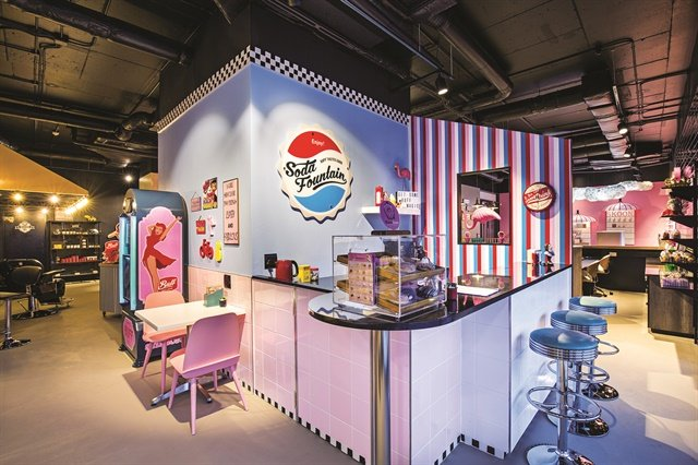 Buff Beauty Parlor is full of fun design elements, like this soda fountain.