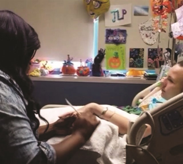 "Jackson does nails for Justina Pelletier while Pelletier is hospitalized. The Connecticut teen became a fan of Jackson when she saw Jackson on ""Nail'd It."""