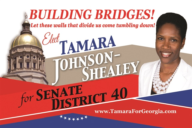Johnson-Shealey won the 2014 Democratic nomination for the Georgia State Senate, District 40 and is currently a 2016 candidate for the same seat.
