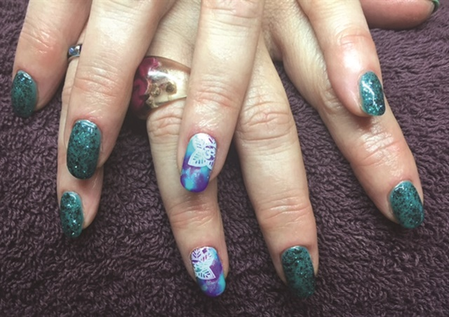 Glitter gel-polish manicures are popular at The Violet Butterfly in Glastonbury, England.