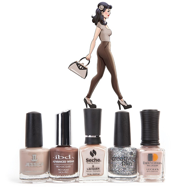 From left to right: Jessica Naked Contours, IBD Buxom Bombshell, Seche Intriguing, CND Creative Play Bling Toss, and Dare to Wear Willow Whisper