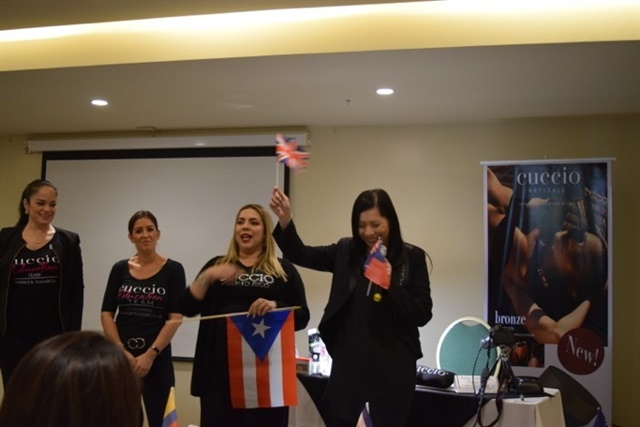 <p>Marilyn Garcia, director of education, with international educators Liz Richards, Amy Santiago, and Jacqueline Yeung</p>