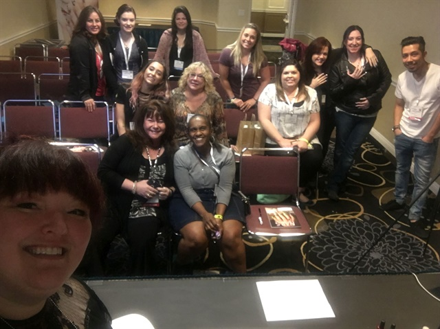 A quick selfie taken during my class, #naileyes and Social Media, Monday morning at ISSE Long Beach.