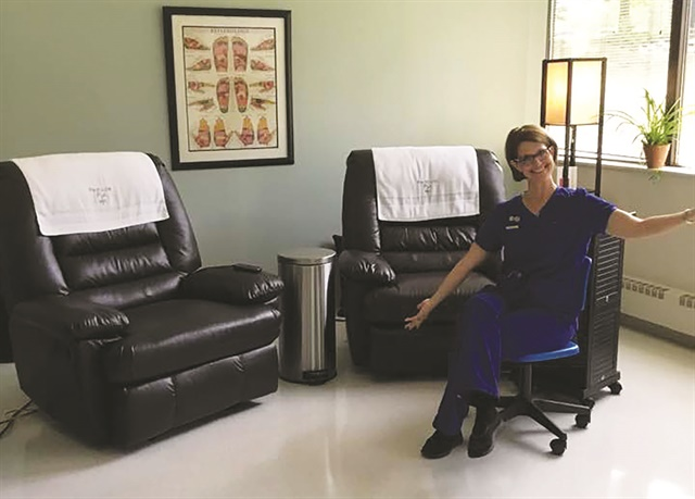 Elderly clients have sought out Baich's Pedicure Plus salon because of the easy-access lounger chairs that deliberately avoid risers or steps.