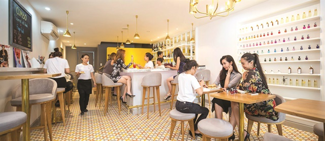 Merci Nails & Cafe in Ho Chi Minh City, Vietnam, resembles boutique salons in the United States.