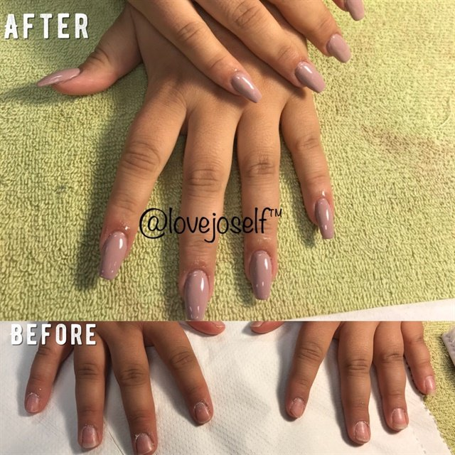 <p>The before shows short and uneven nails to sculpted, nude, coffin nails.</p>