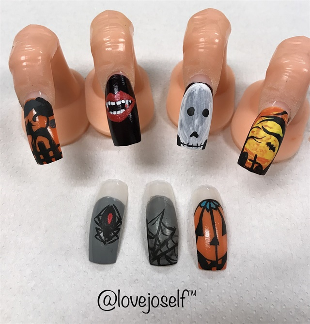 Here are my Halloween nail art designs. My favorite designs are the vampire lips and the trees with the tombstones.