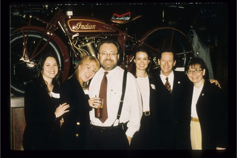 <p>George with team at the launch of Route 66 lacquer collection.</p>