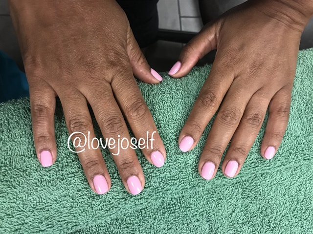 My last client of the week and I got along great. This is the gel manicure I did for her.