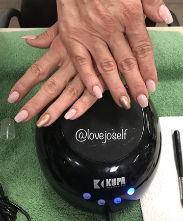 <p>I did a fill with gel-polish and a rose gold chrome accent nail.</p>
