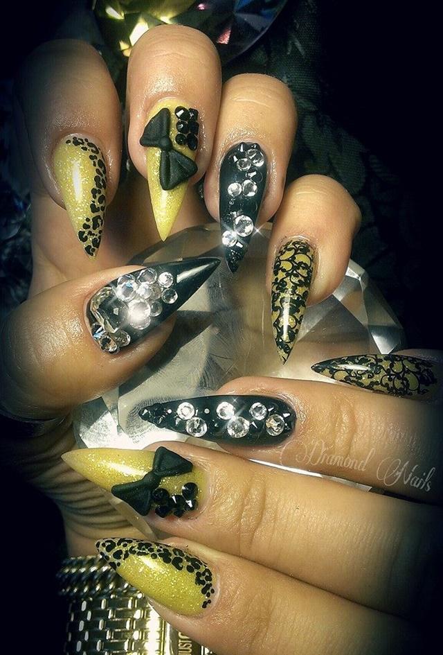 Day 131: Black & Yellow Blingtastic Nail Art - - NAILS Magazine