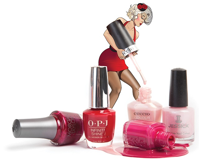 From left to right: Morgan Taylor The Last Petal, OPI Infinite Shine The Thrill of Brazil, Essie B'aha Moment!, Cuccio Be Awesome Today!, and Jessica The Vows