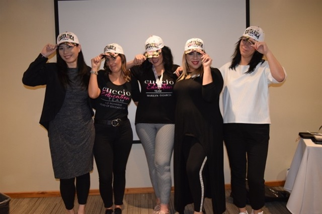 Jacqueline Yeung (Taiwan), Liz Richards (England), Marilyn Garcia (Puerto Rico), Amy Santiago (Puerto Rico), and Geergana Bangeva (Bulgaria)