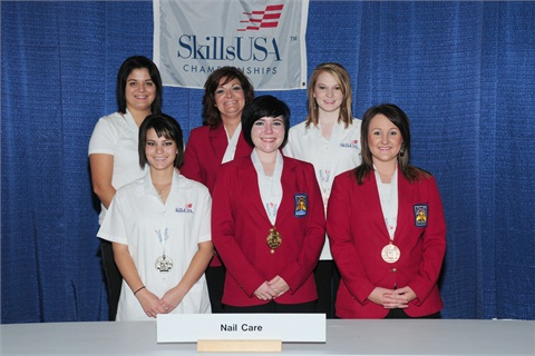 <p>The beaming winners of the national 2012 Nail Care SkillsUSA Championship (college/postsecondary level).</p>
