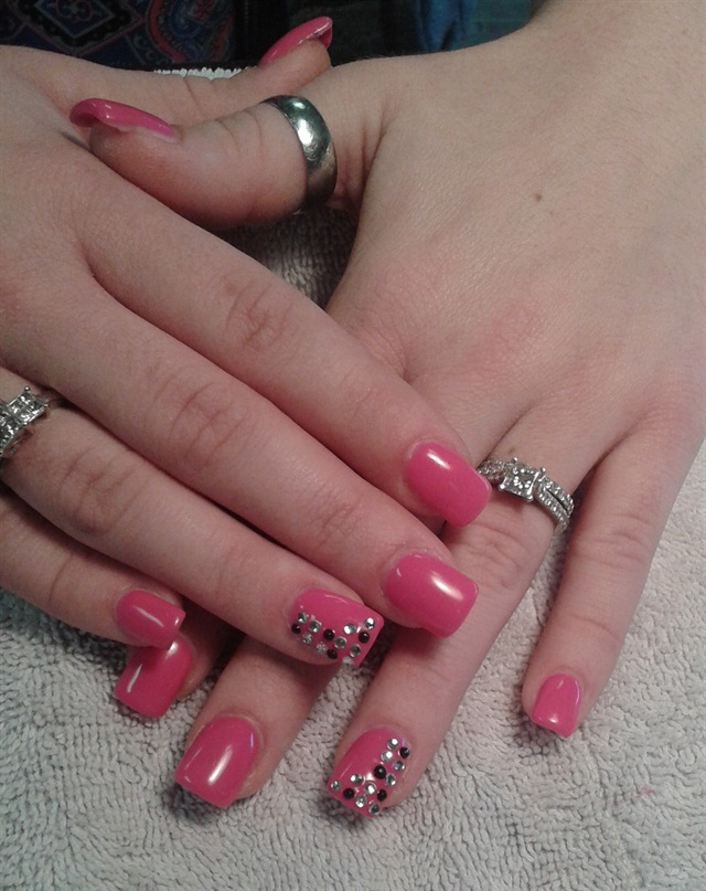 Day 50 pink with crystals nail art nails magazine for Euphoria nail salon
