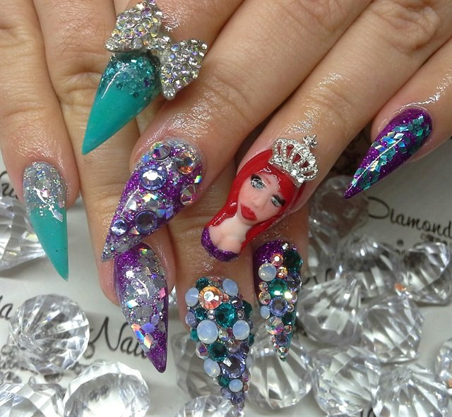 Amy Gustafson, Diamond Nails Studio, Victoria, British Columbia, Canada - Day 99: Little Mermaid Nail Art - - NAILS Magazine