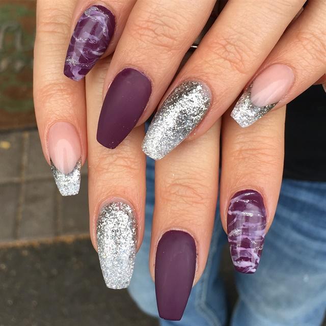 Day 100: Purple Matte Nail Art -