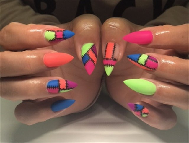 Day 109: Neon Patchwork Nail Art - - NAILS Magazine