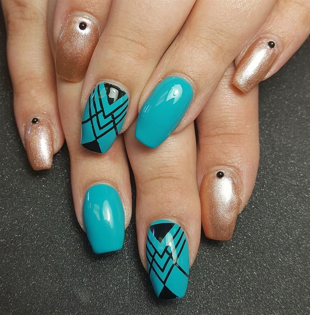 Crystal Childers, Tickled Pink Beauty Boutique, Yuba City, Calif. - Day 118: Turquoise Tribal Nail Art - - NAILS Magazine