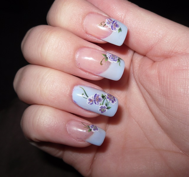 French Nail Art: Day 123: Purple Floral French Nail Art