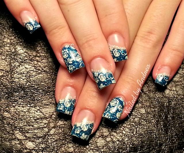 Day 186: Blue Flowers Nail Art - - NAILS Magazine