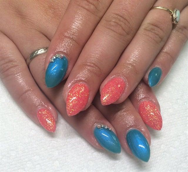 Day 191: Blue & Coral Nail Art - - NAILS Magazine