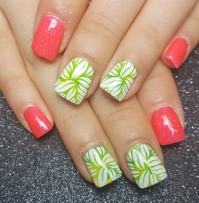 Day 206 tropical pink green nail art nails magazine crystal treto tickled pink nail boutique yuba city calif prinsesfo Image collections