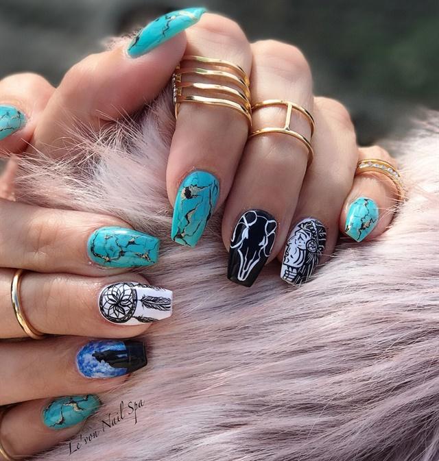 Day 216: Turquoise Nail Art - - NAILS Magazine