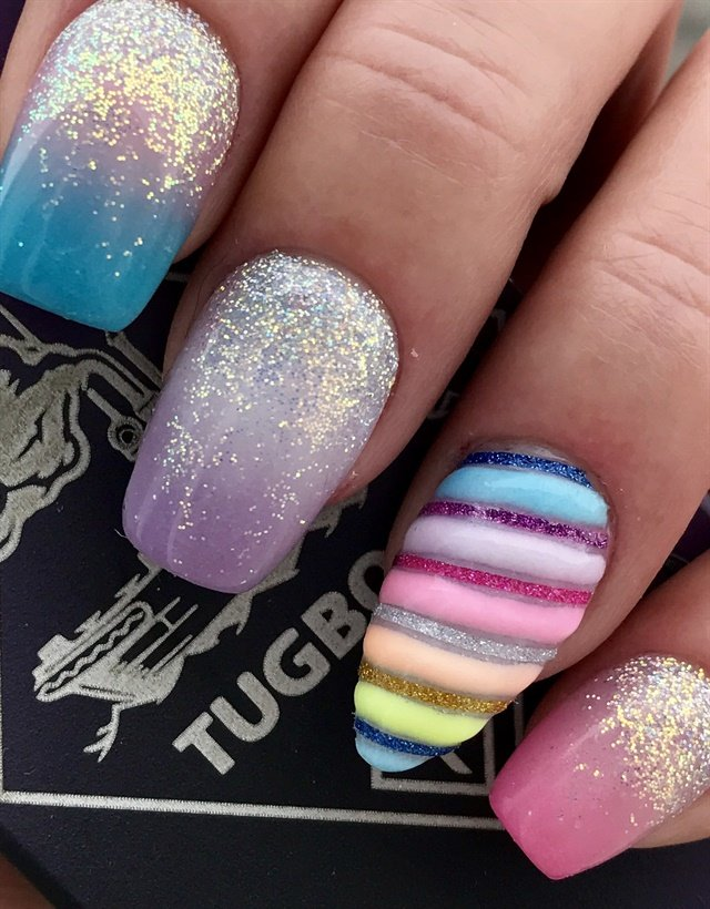 Jen Fetty, Middleton, Idaho - Day 254: Glowing Unicorn Nail Art - - NAILS Magazine
