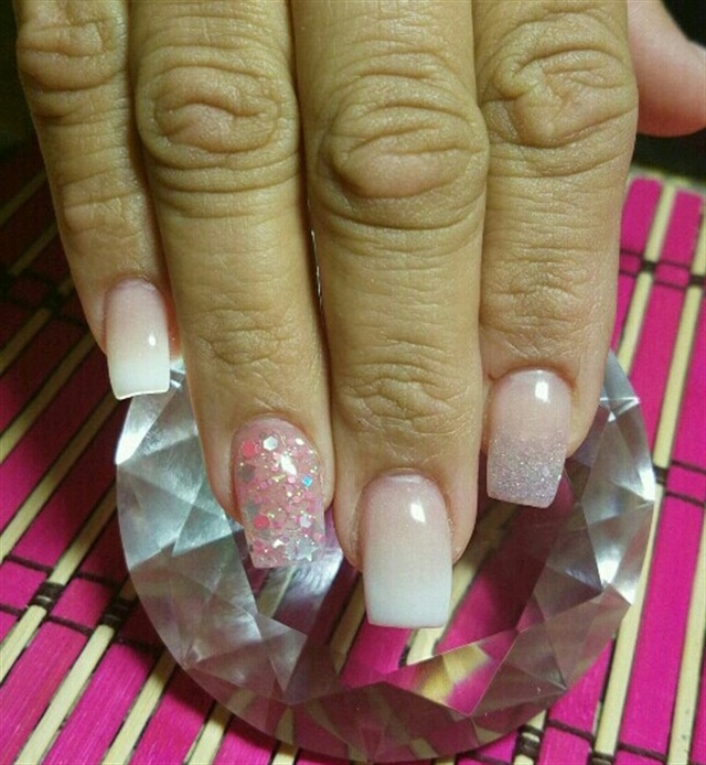 Day 269: Ombre With Glitter Accent Nail Art - - NAILS Magazine