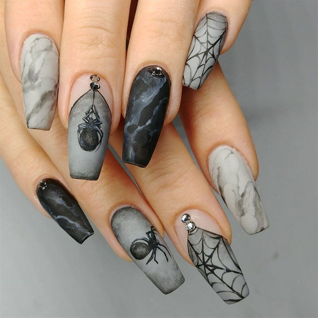 Day 277: Matte Marble Halloween Nail Art - - NAILS Magazine