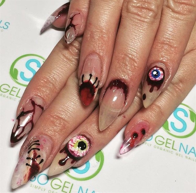 Day 281: Blood, Black & Eyeball Nail Art - - NAILS Magazine