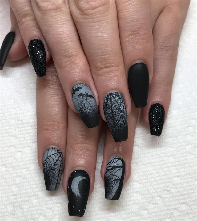 Black Nail Art: Day 286: Black Magic Nail Art