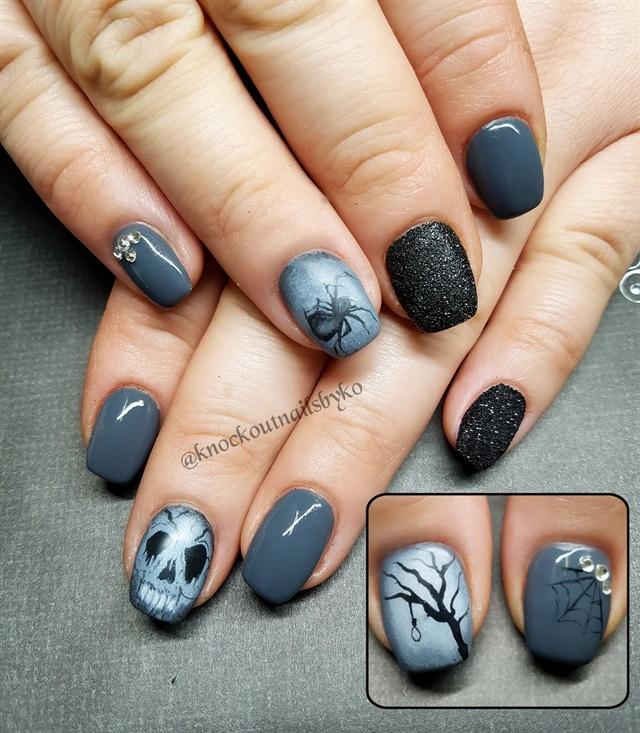 Kelcie Olson, Knockout Nails by Kelcie, Ponoka, Alberta, Canada - Day 295: Gray Spider Nail Art - - NAILS Magazine
