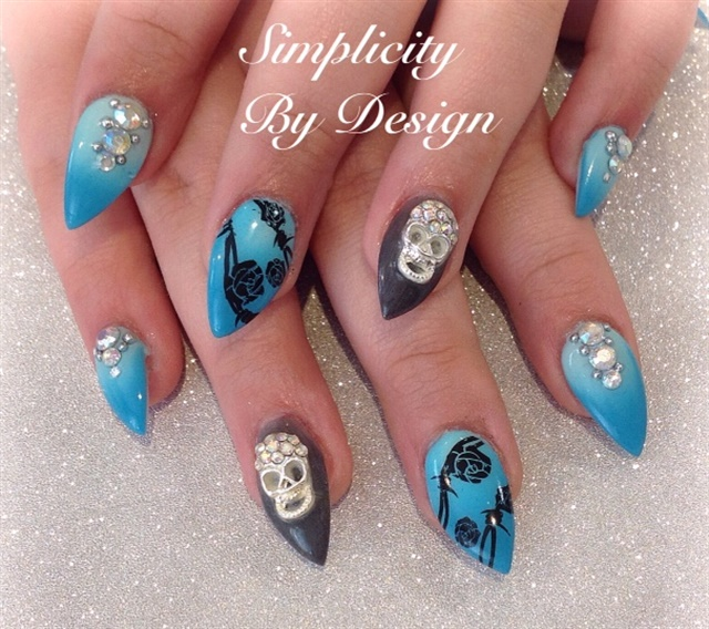Delee Dennison, Simplicity by Design, Terrace, British Columbia, Canada - Day 298: Skulls & Roses Nail Art - - NAILS Magazine