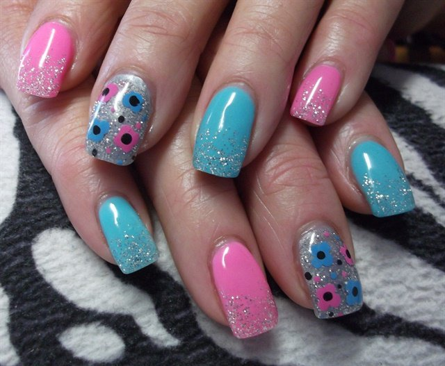 Nikki Stratton, Nikki's Nails, Williams Lake, British Columbia, Canada - Day 306: Pink And Blue Nail Art - - NAILS Magazine