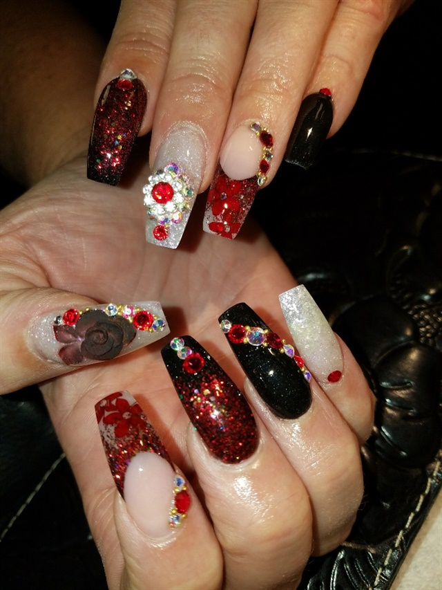 Day 323 Red Black And Beige Nail Art Nails Magazine