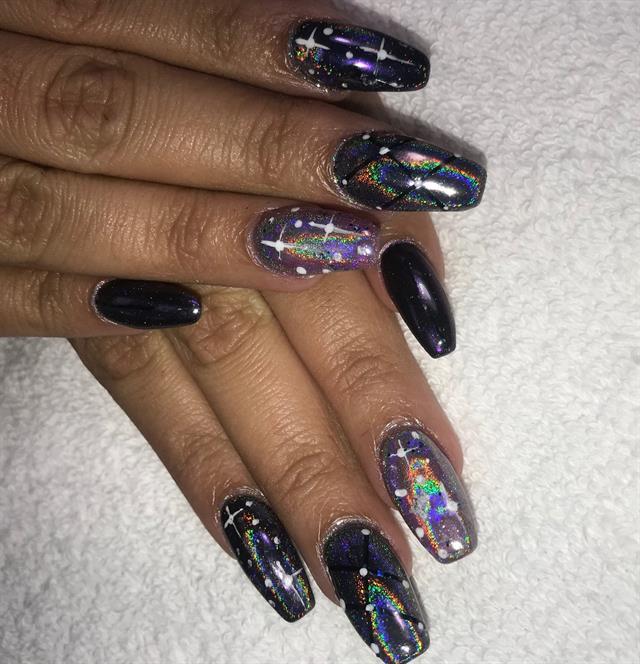 Rosa Vargas Palm Springs Fla Nailsbyrosavargas Keywords Galaxy Nail Art Holographic Nails