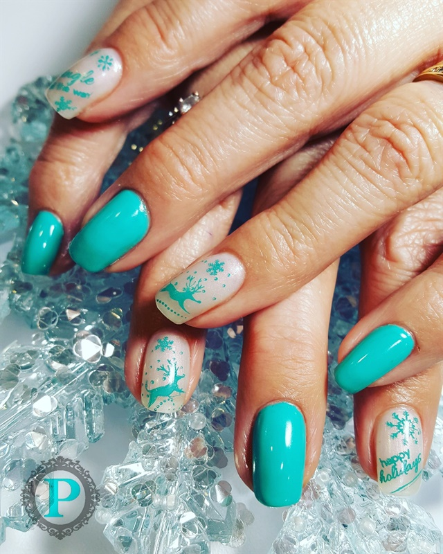 Day 349: Teal Holiday Nail Art - - NAILS Magazine