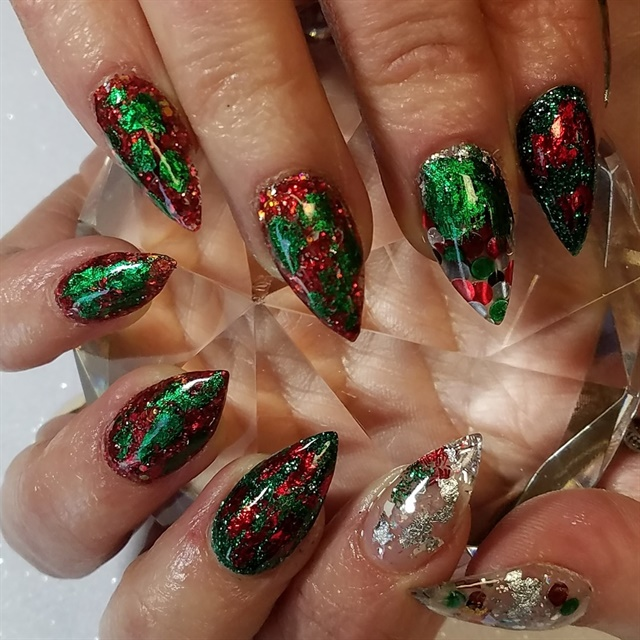 Day 352 Green And Red Foil Nail Art Nails Magazine