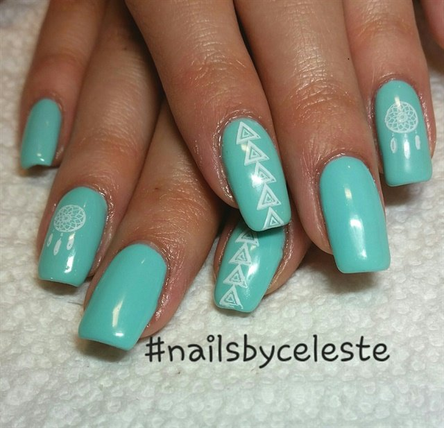 Celeste Tonra, Clarity, Brielle, N.J.. Keywords: nail art - Day 364: Turquoise Shapes Nail Art - - NAILS Magazine