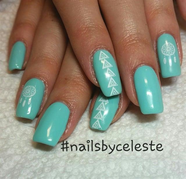 Day 364: Turquoise Shapes Nail Art - - NAILS Magazine