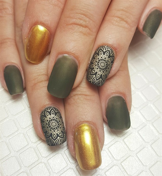 Crystal Childers, Tickled Pink Beauty Boutique, Yuba City, Calif. - Day 60: Green & Gold Matte Nail Art - - NAILS Magazine