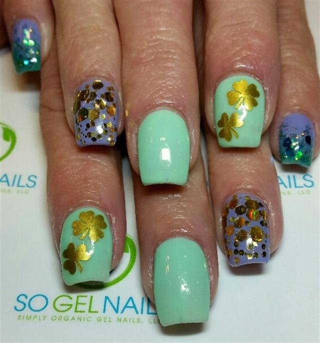 Day 64: Gold & Glitter Shamrock Nail Art - - NAILS Magazine
