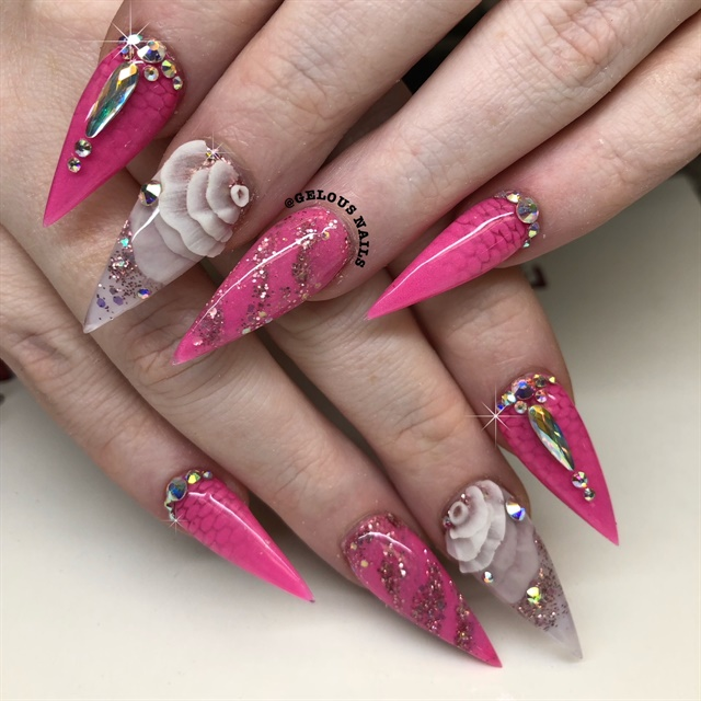 Thanh Dang, Nails by TD, Derry, N.H. @gelousnails_ - Day 101: Petals And Pink Nail Art - - NAILS Magazine